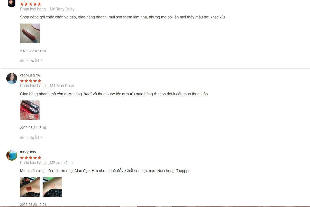 Các cô nàng với những đánh giá tích cực về bộ son này (nguồn: BlogAnChoi)