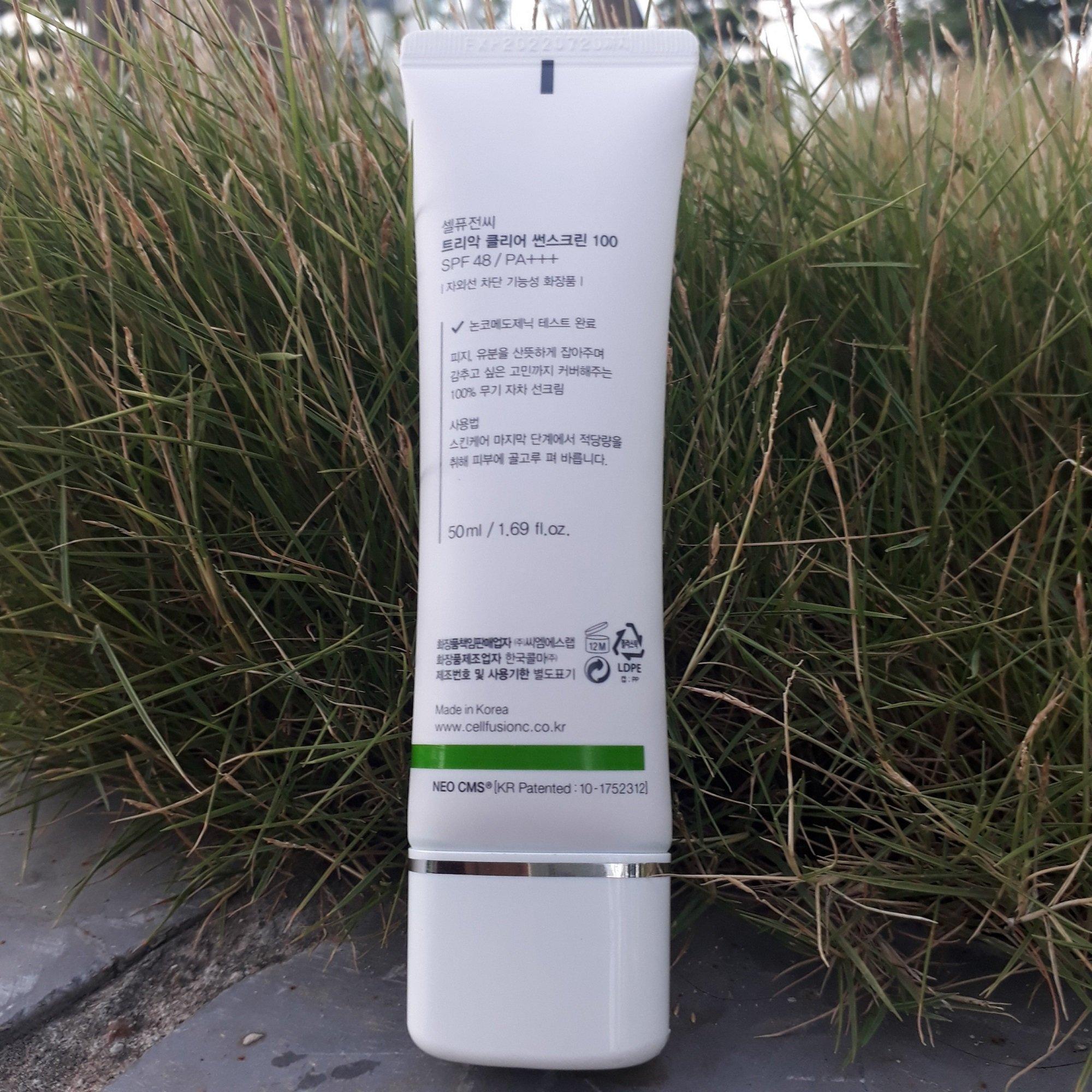 Kem chống nắng Céll Fùsion C Clear Sunscreen 100 SPF 48+/PA+++ tiệp màu da tự nhiên, che phủ khuyết điểm tốt và điều trị mụn hiệu quả (ảnh: BlogAnChoi).