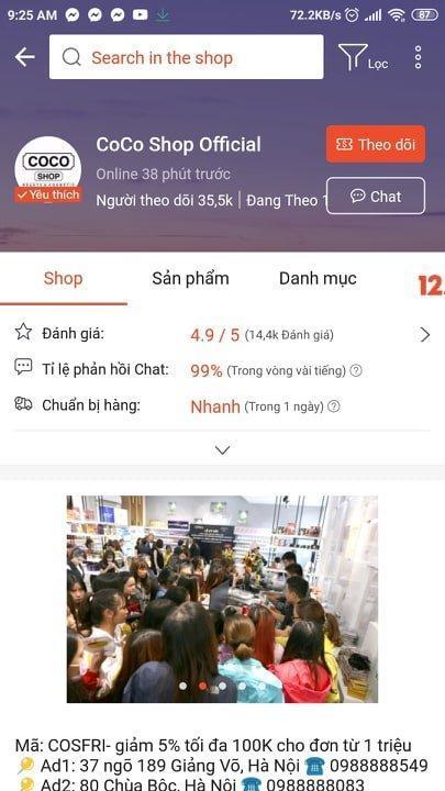 Coco Shop nhận được nhiều đánh giá tốt trên Shopee. (Nguồn: Internet)