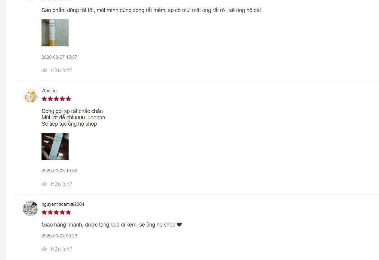 Đánh giá từ khách hàng sử dụng trên trang Shopee
