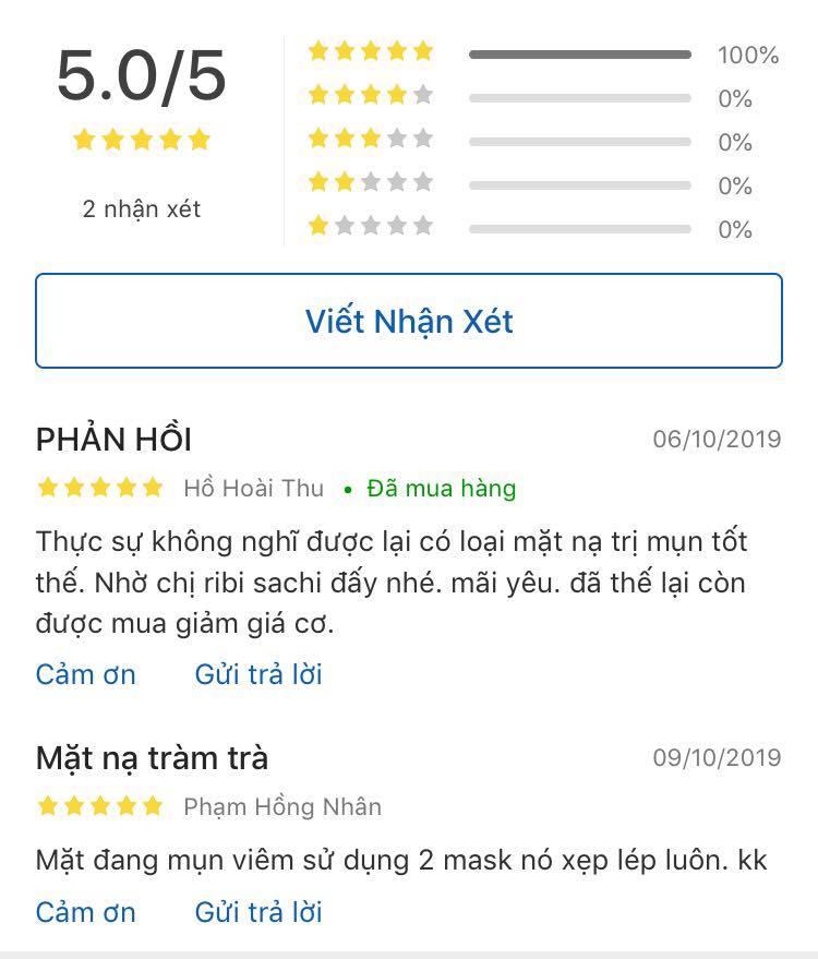 Những đánh giá tích cực dành cho mặt nạ tràm trà SEXYLOOK trên Tiki (nguồn: Internet)