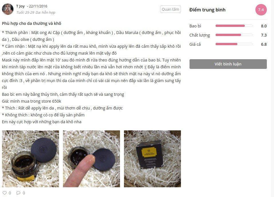 Đánh giá của khách hàng tại Sheis ảnh: BlogAnChoi)