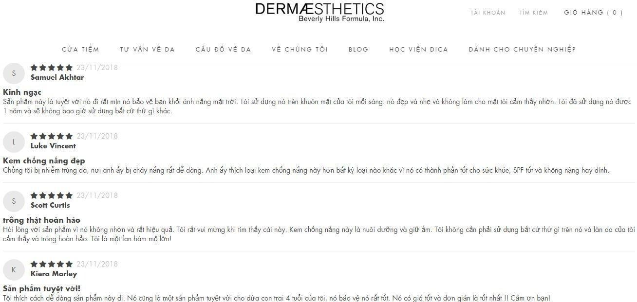 """Những lời khen """"có cánh"""" dành cho sản phẩm trên trang Dermaestheticsusa (ảnh: BlogAnChoi)."""