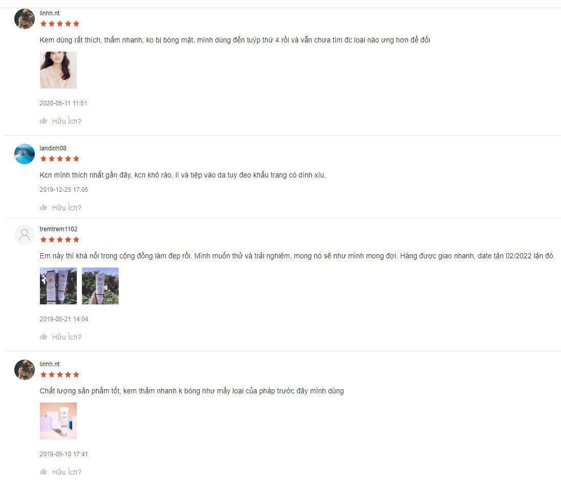 Đánh giá của khách hàng trên Shopee về kem chống nắng Elta MD UV Physical Broad-spectrum SPF 41 (Nguồn: BlogAnChoi)