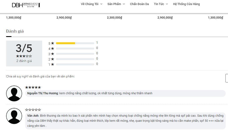 Các ý kiến đánh giá của khách hàng về sản phẩm trên trang Dermaestheticsvn (ảnh: BlogAnChoi).