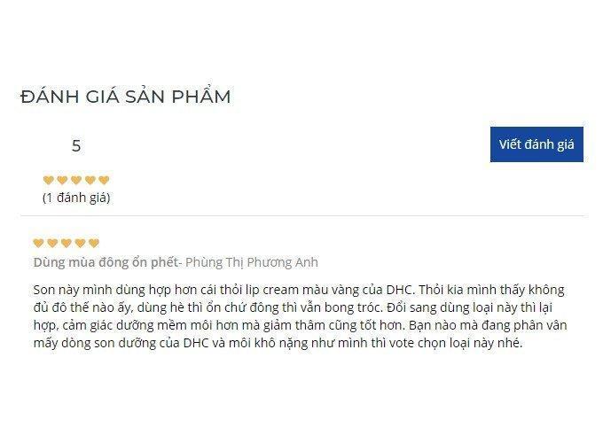 Một khách hàng nhận xét DHC Extra Moisture Lip Cream thích hợp dùng mùa đông (Nguồn: BlogAnChoi)