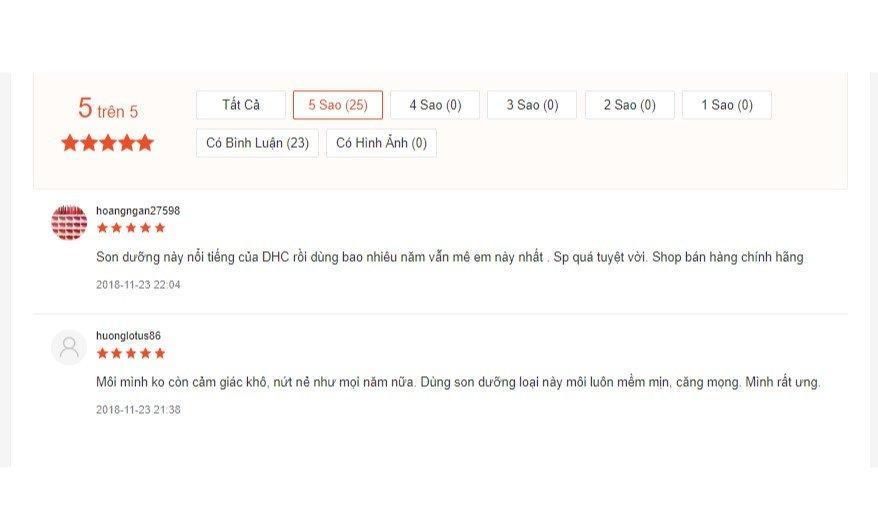 Đánh giá của khách hàng về DHC Extra Moisture Lip Cream trên Shopee (Nguồn: BlogAnChoi)
