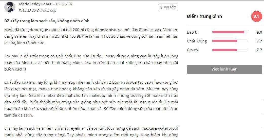 đánh giá etude house