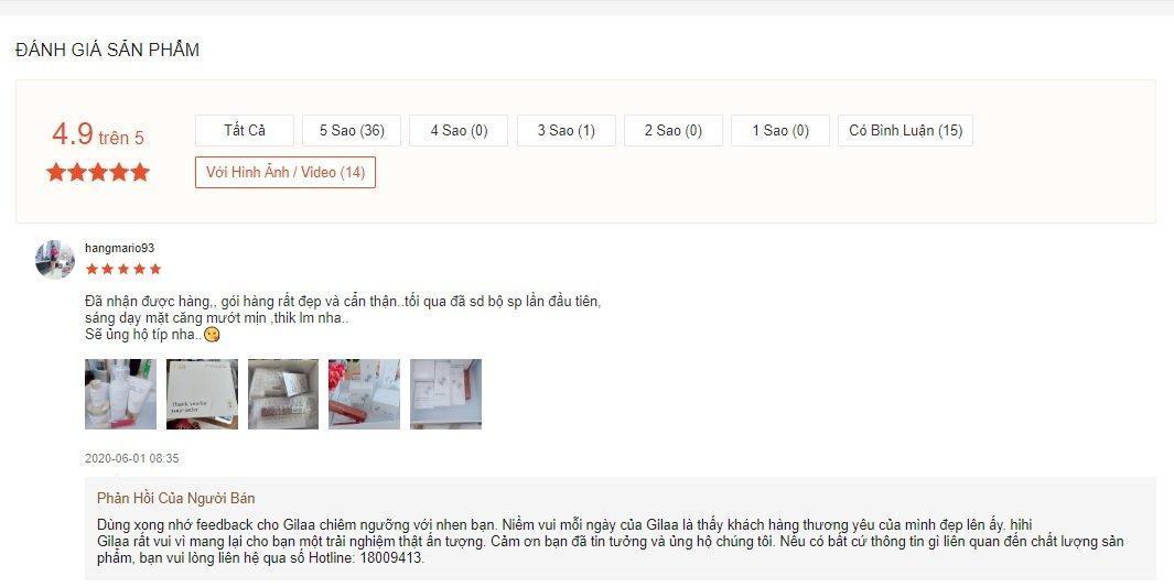 Review đánh giá thực tế của khách hàng đã sử dụng sản phẩm dưỡng trắng da Gilaa Saffron Tone Up Repair. (Nguồn: BlogAnChoi)