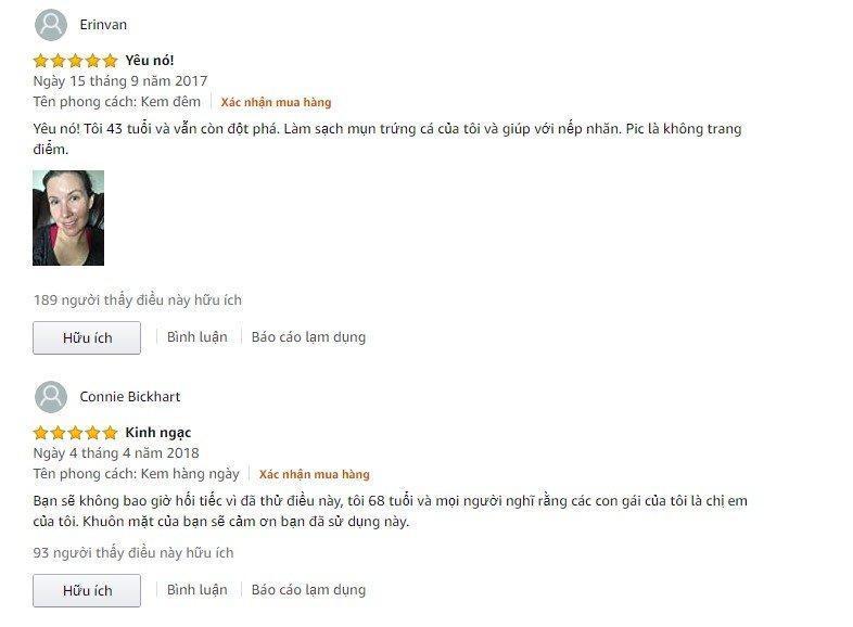 Đánh giá từ khách hàng đã sử dụng sản phẩm trên trang Amazon (Ảnh: BlogAnChoi)