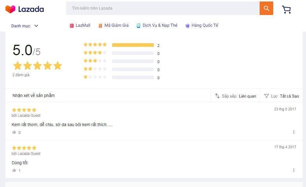 Đánh giá của khách hàng sử dụng sản phẩm trên trang Lazada (nguồn ảnh: BlogAnChoi).