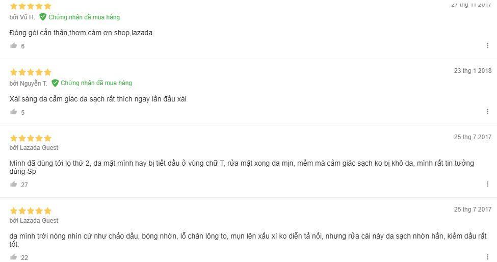Đánh giá của khách hàng trên trang Lazada (ảnh: BlogAnChoi).