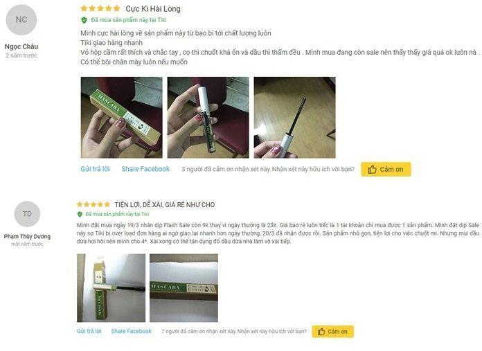 Đánh giá mascara dầu dừa dưỡng mi Milaganics từ khách hàng