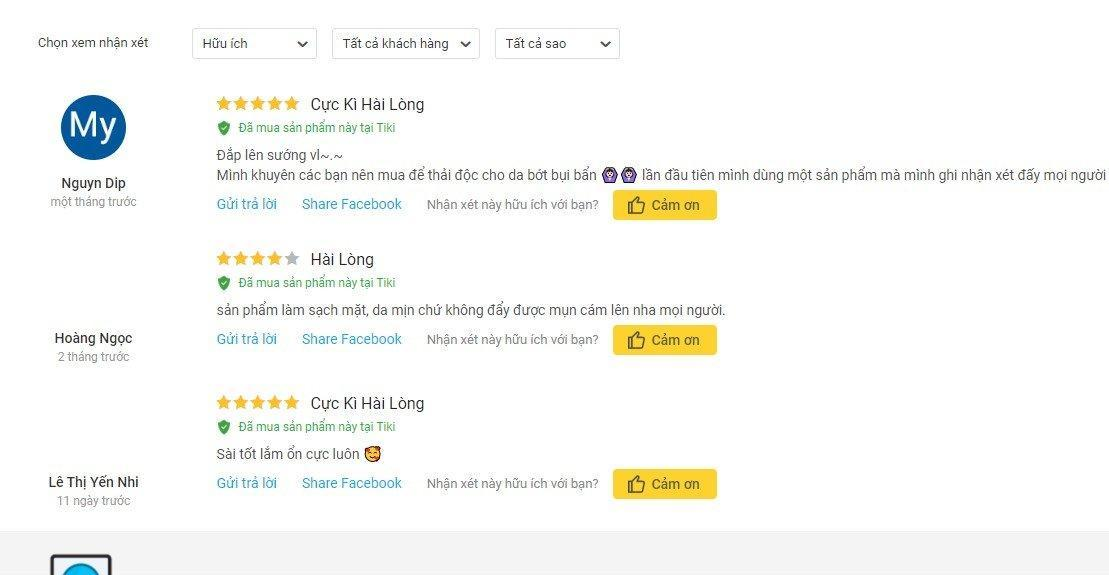 Đánh giá từ khách hàng sử dụng trên trang Tiki (Ảnh: BlogAnChoi)