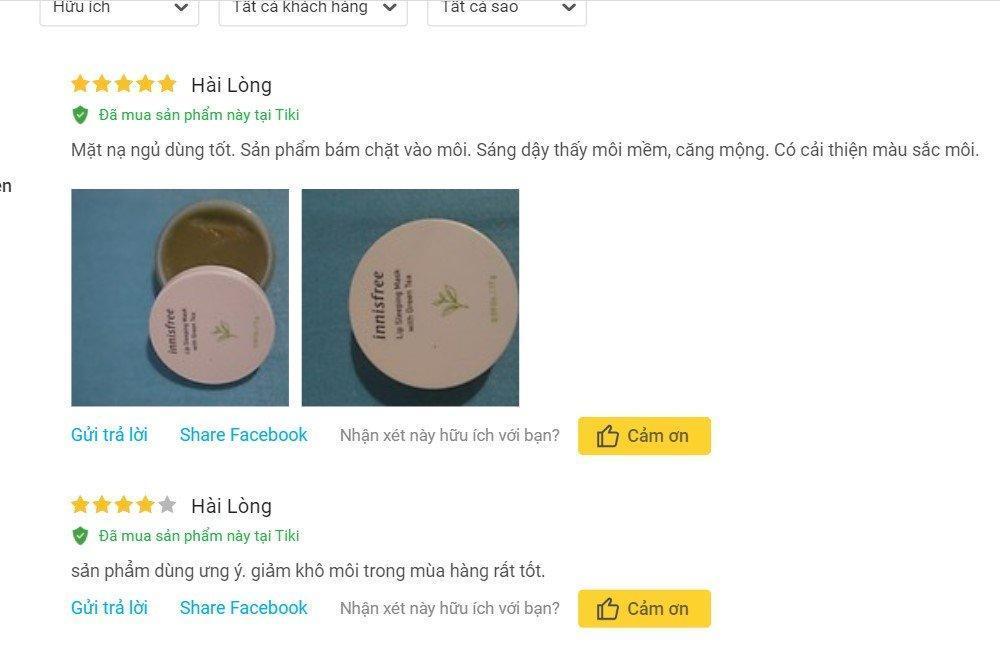 Đánh giá từ khách hàng đã sử dụng sản phẩm trên trang Tiki (Ảnh: BlogAnChoi)