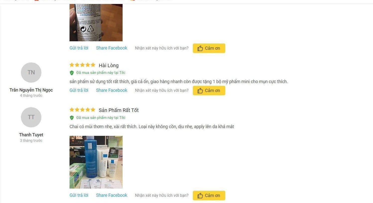 Đánh giá của khách hàng trên trang Tiki. (nguồn: BlogAnChoi)