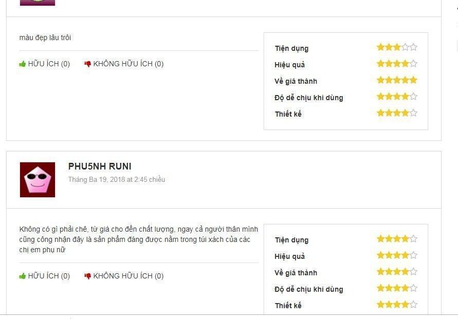 Đánh giá của khách hàng trên trang rivi (nguồn ảnh: BlogAnChoi).