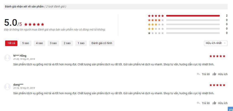 Đánh giá của khách hàng sử dụng sản phẩm trên trang Sendo (nguồn ảnh: BlogAnChoi).