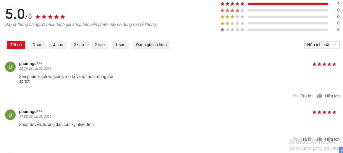 Đánh giá của khách hàng trên trang Sendo (ảnh: BlogAnChoi).