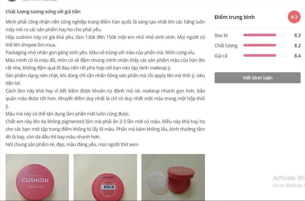 Đánh giá của khách hàng trên trang Sheis. (nguồn: BlogAnChoi)