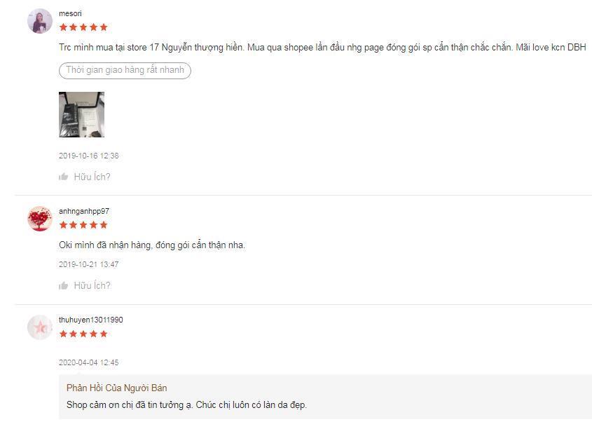 Những ý kiến đánh giá tích cực về sản phẩm trên trang Shopee (ảnh: BlogAnChoi).