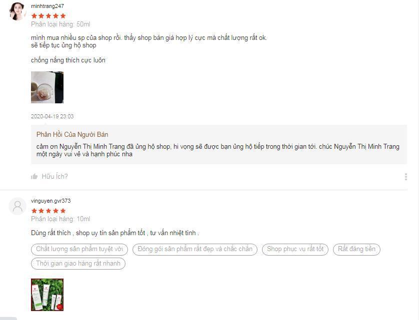 Những nhận xét tích cực của khách hàng trên trang Shopee (ảnh: BlogAnChoi).