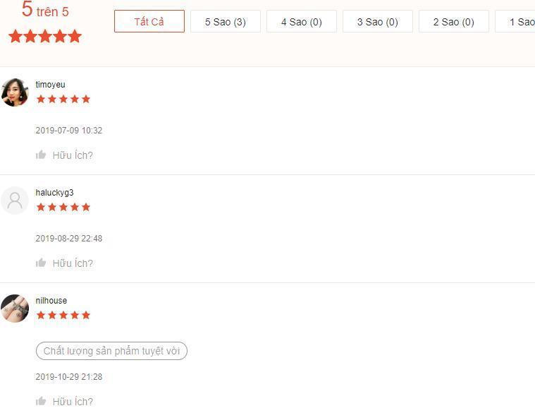 Những ý kiến đánh giá cao sản phẩm của khách hàng trên trang Shopee (nguồn ảnh: BlogAnChoi).