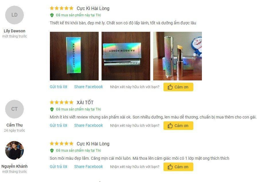 Một số nhận xét từ khách hàng sử dụng trên trang Tiki (Ảnh: BlogAnChoi)