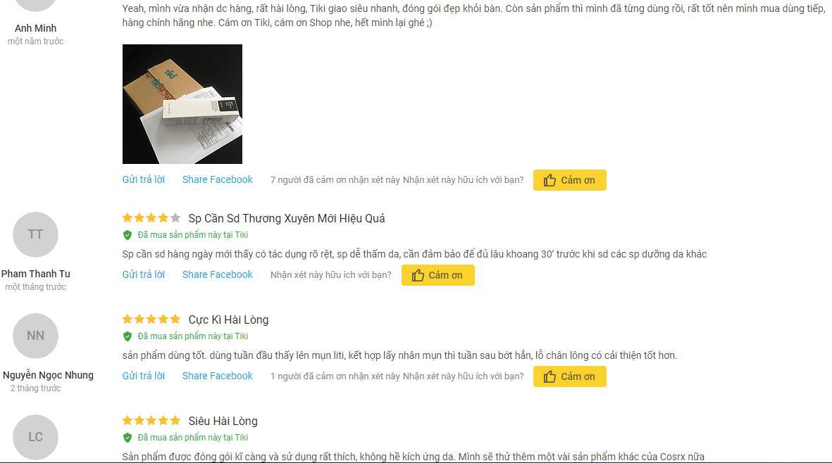 Sản phẩm tẩy tế bào da chết COSRX BHA Blackhead Power Liquid nhận được nhiều đánh giá tích cực từ phía khách hàng trên trang Tiki (ảnh: internet).