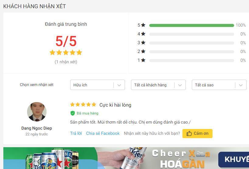 Đánh giá tích cực của khách hàng trên trang Tiki (nguồn ảnh: BlogAnChoi).