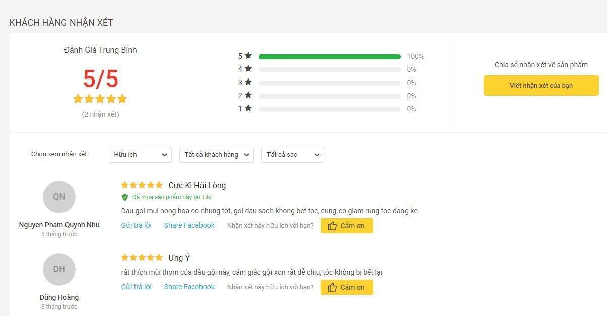 Đánh giá tích cực của khách hàng sử dụng sản phẩm trên trang Tiki (nguồn ảnh: BlogAnChoi).