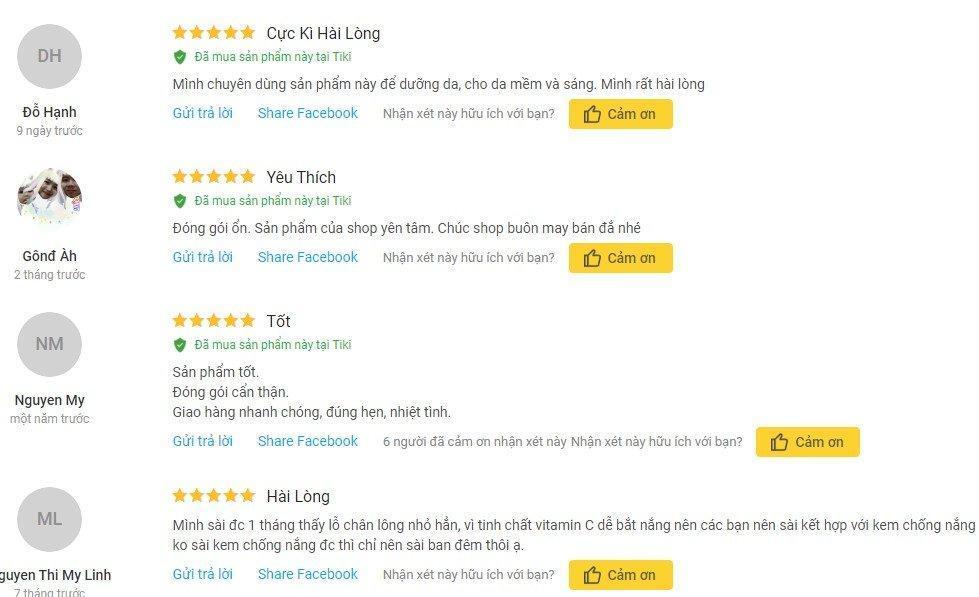 Đánh giá từ khách hàng sử dụng sản phẩm trên trang Tiki (Ảnh: BlogAnChoi)