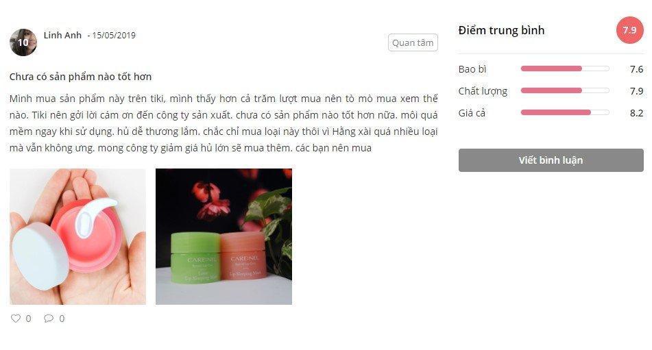 Nhận xét từ một khách hàng đã sử dụng sản phẩm trên trang Sheis.vn (Ảnh: BlogAnChoi)