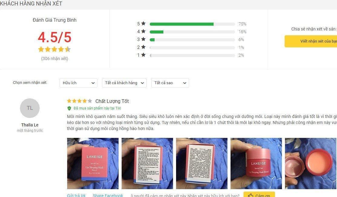 Đánh giá từ khách hàng sử dụng sản phẩm trên Tiki (Ảnh: BlogAnChoi)