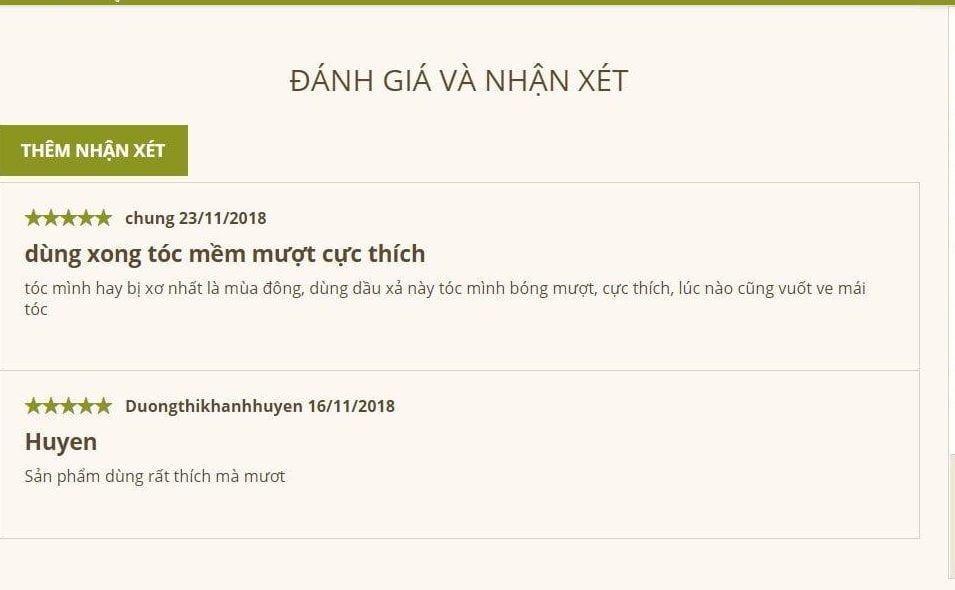 Đánh giá của khách hàng trên website của Yves Rocher Việt Nam. (nguồn: Internet)