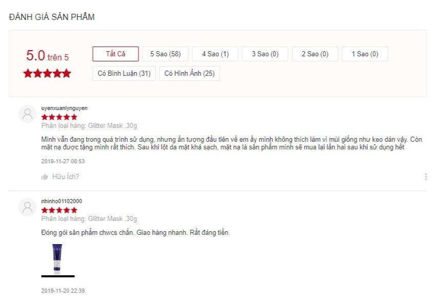 Đánh giá của khách hàng về Wonder Crush Glow Glitter Mask trên Shopee (Nguồn: BlogAnChoi)