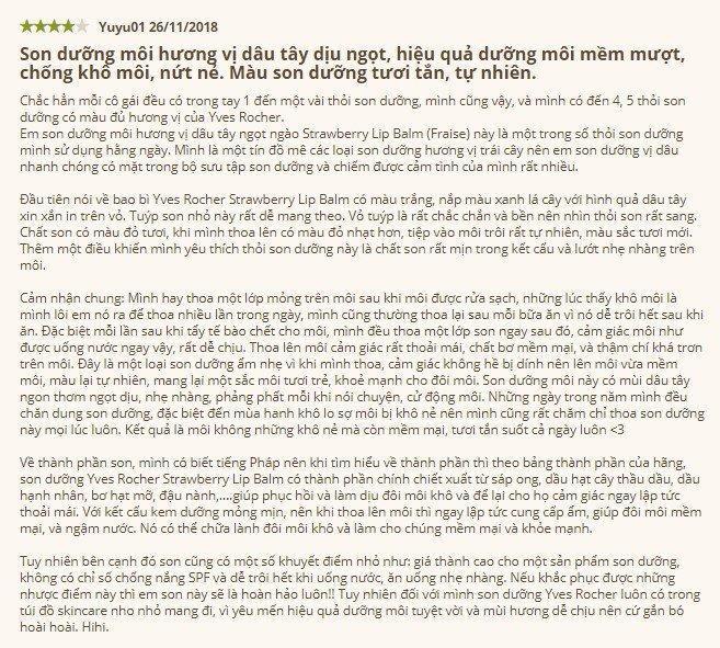 Một đánh giá có tâm từ khách hàng về Yves Rocher Lip Balm trên website Yves Rocher Việt Nam (Nguồn: BlogAnChoi)