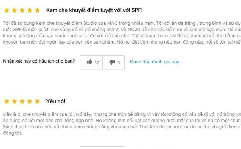 Đánh giá từ khách hàng trên trang Beautypedia (Ảnh: Internet)