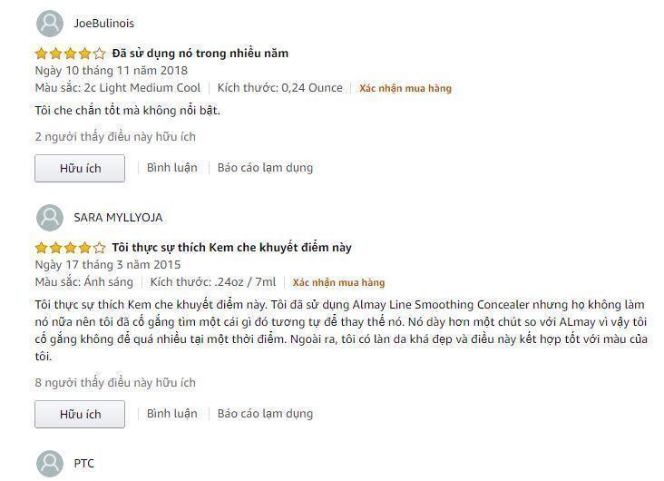 Đánh giá từ khách hàng trên trang Amazon (Ảnh: Internet)