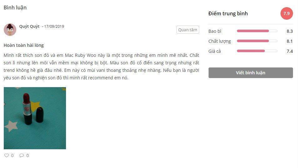 Nhận xét từ một khách hàng sử dụng sản phẩm trên trang Sheis.vn (Ảnh: Internet)