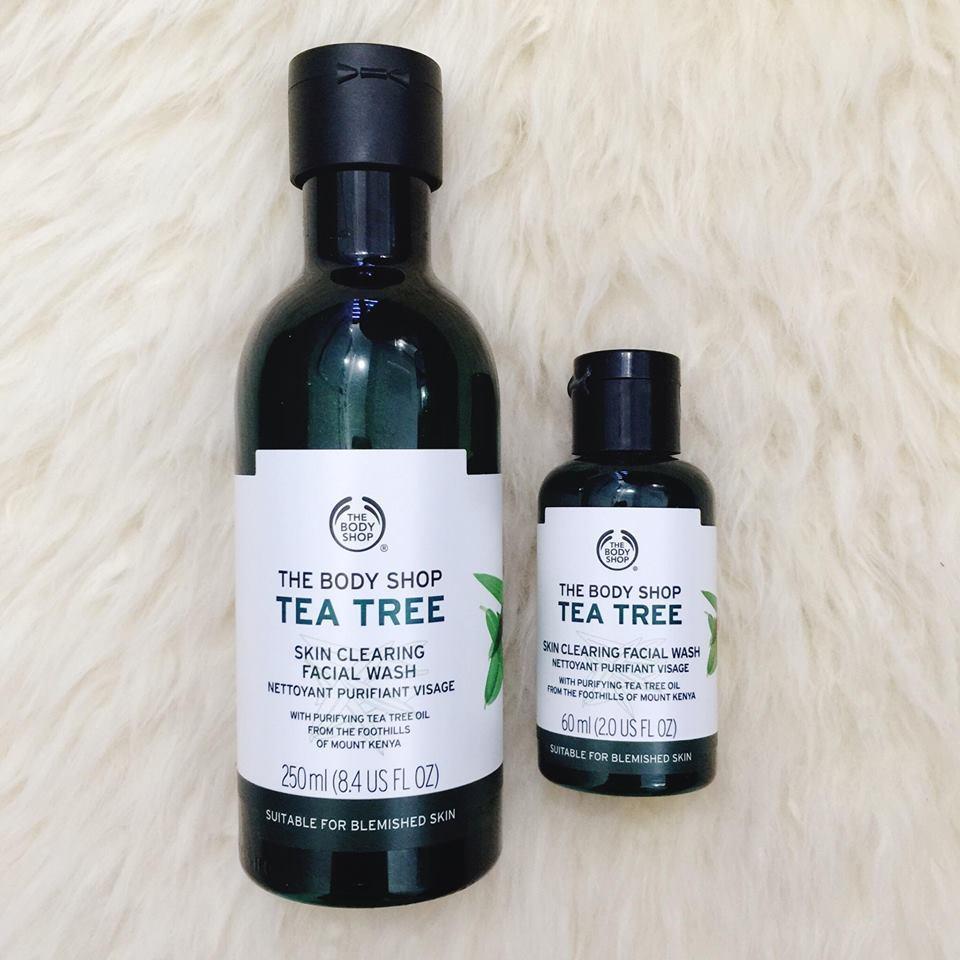 Sữa rửa mặt trị mụn dòng Tea Tree nhà The Body Shop với 2 lựa chọn về dung tích. Nguồn: Internet