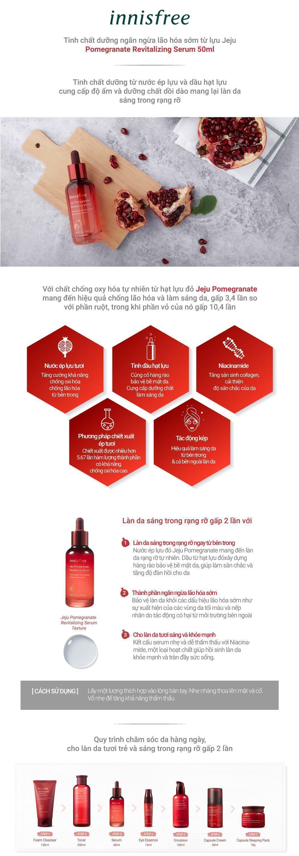 Tinh Chất Ngăn Ngừa Lão Hóa Từ Lựu Innisfree Jeju Pomegranate Revitalizing Serum (50ml)