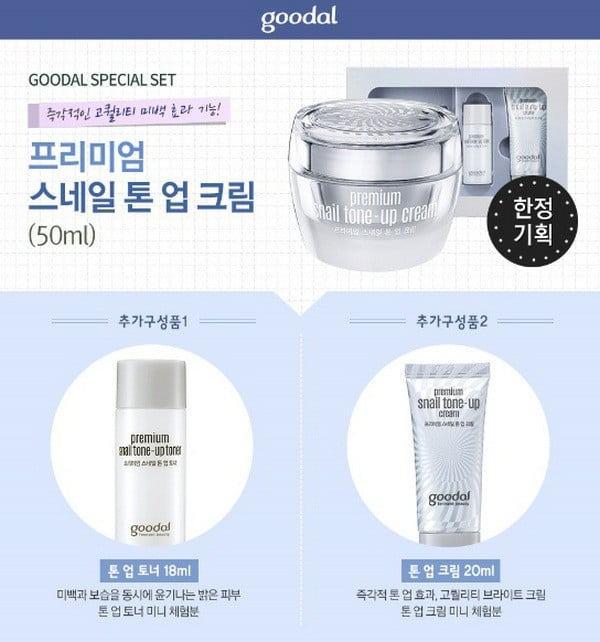Bộ Dưỡng Trắng Da Từ Tinh Chất Nhầy Ốc Sên Goodal Premium Snail Tone Up Cream Special Set là sản phẩm dưỡng da chuyên sâu từ tinh chất dịch nhầy ốc sênBộ Dưỡng Trắng Da Từ Tinh Chất Nhầy Ốc Sên Goodal Premium Snail Tone Up Cream Special Set (3 Sản phẩm)