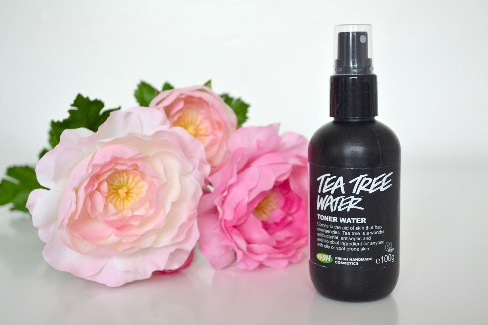 Bao bì nước hoa hồng Lush Tea Tree Water được thiết kế mang tone đen chủ đạo, hình thức bóng bảy, tinh tế (ảnh: internet).