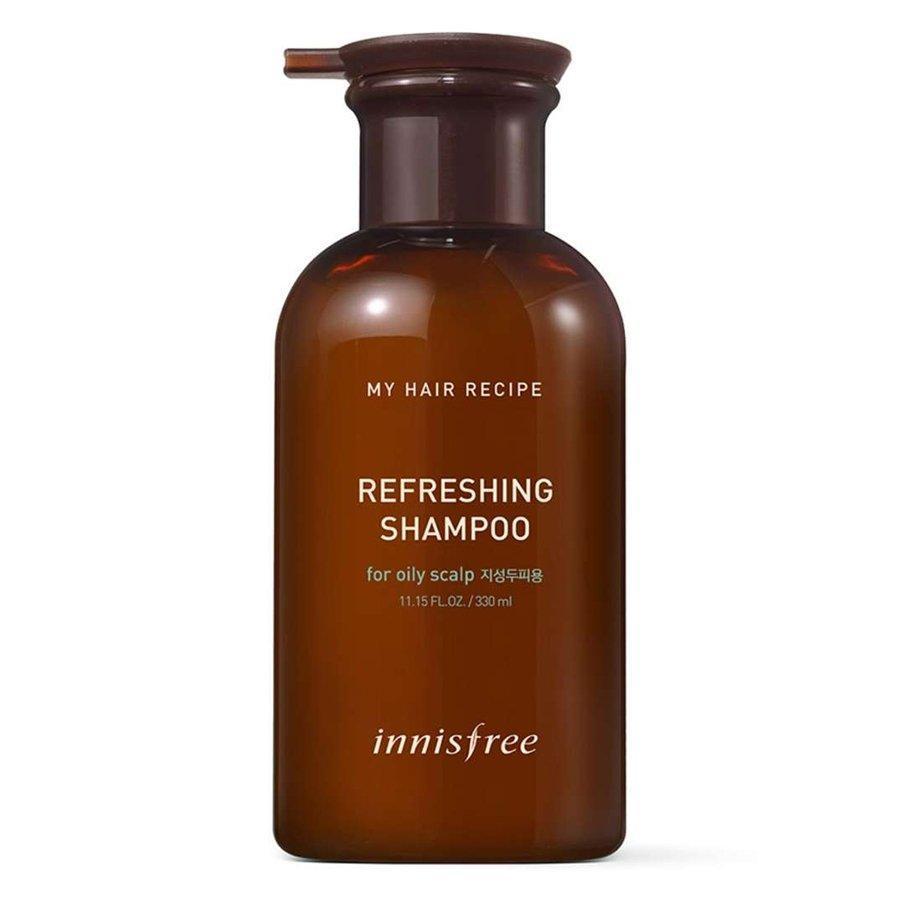 Chai innisfree My Hair Recipe Refreshing Shampoo có hình thức bóng bảy nhưng màu sắc mang đặc trưng của loại dầu gội thảo dược (ảnh: internet).