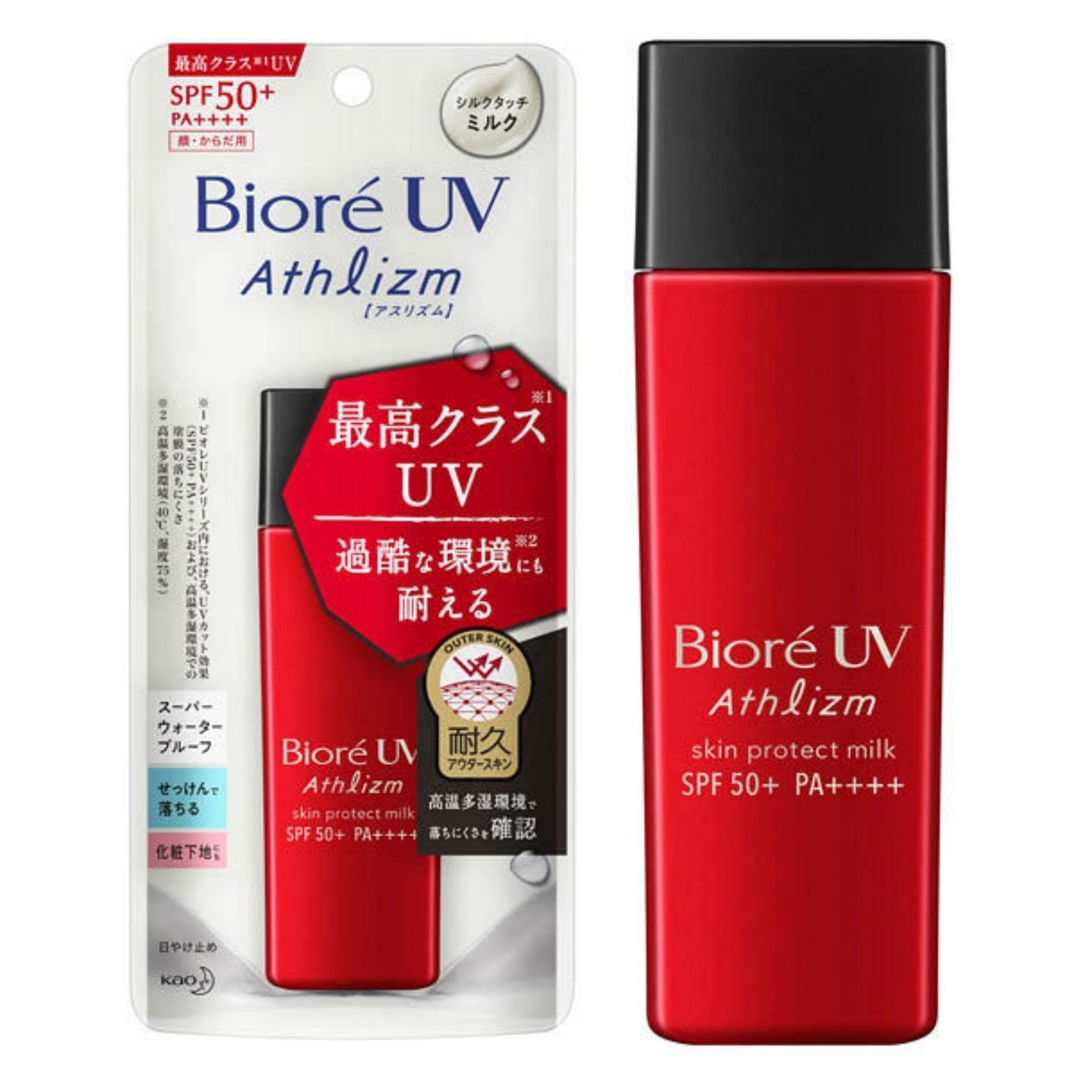 Sữa Bioré UV Athlizm Skin Protect Milk SPF 50+ PA++++ bảo vệ da đến từng kẽ hở vi mô nhất dưới ánh nắng mặt trời (ảnh: internet).