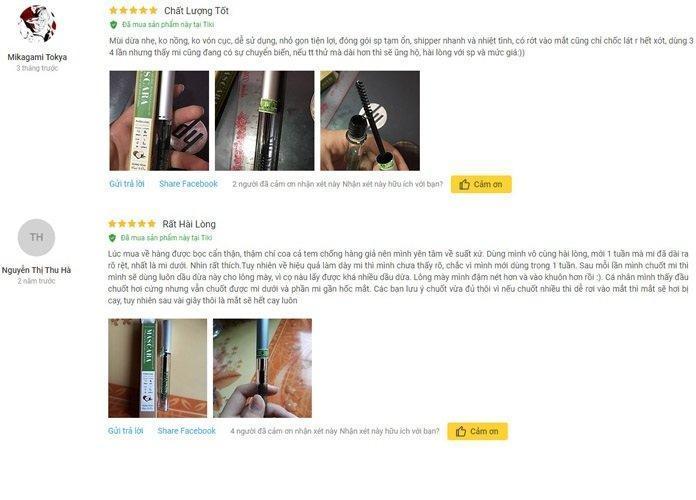 Review mascara dầu dừa dưỡng mi Milaganics từ khách hàng