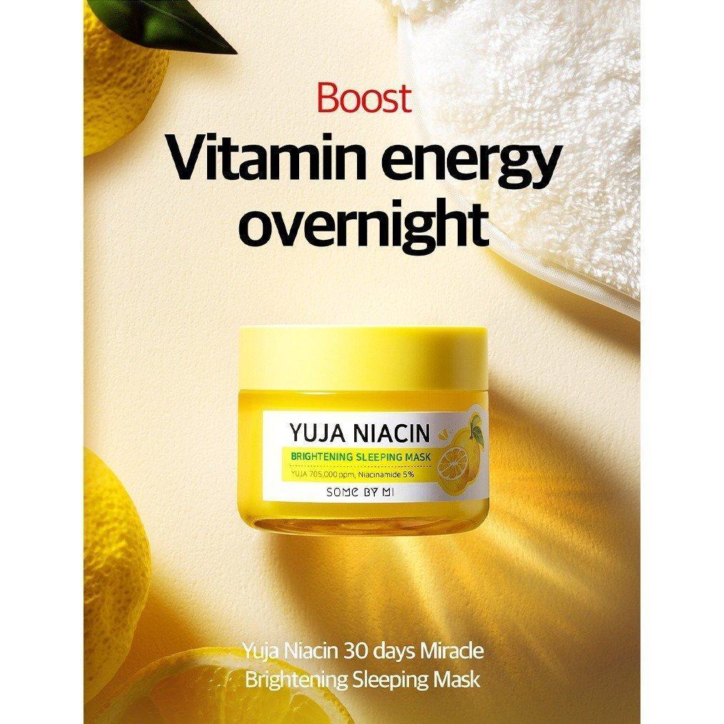 Dòng mặt nạ ngủ Yuja Some By Mi có chiết xuất trái Yuja lên tới 70%, dưỡng trắng hoàn hảo, cấp ẩm mịn màng cho làn da của nàng. ( Ảnh: Internet )