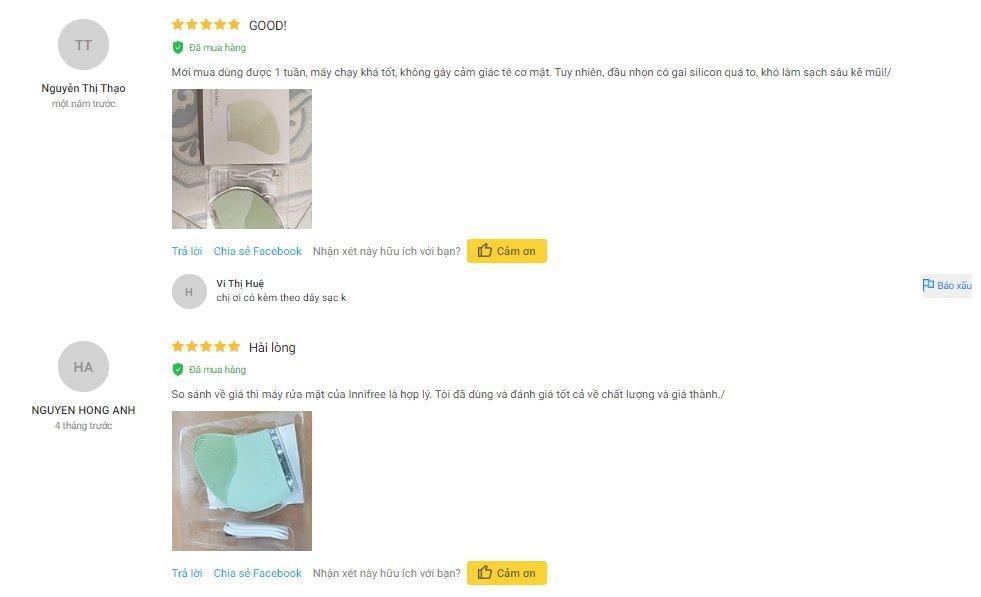 Review đánh giá máy rửa mặt Innisfree Silicone trên trang Tiki. (Nguồn: BlogAnChoi)