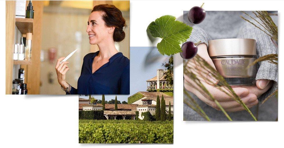 Mathilde Thomas bên cạnh dòng sản phẩm chiết xuất chủ yếu từ tinh chất hạt nho nổi tiếng. (Ảnh: Internet)